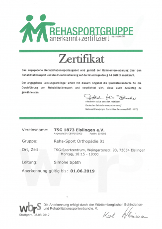 Zertifikate für die Reha-Sportgruppen \